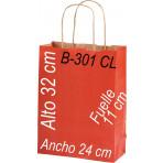 Bolsa papel Kraft 24 x 32 Asa retorcida fondo de color