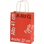 Bolsa papel Kraft 32 x 41 Asa retorcida fondo de color