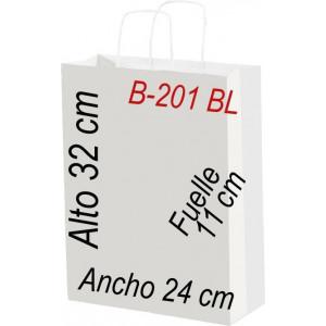 Bolsa Multiusos de papel celulosa blanco 24 x 32 cm con asa retorcida.