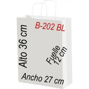 Bolsa Multiusos de papel celulosa blanco 27x36 cm con asa retorcida.