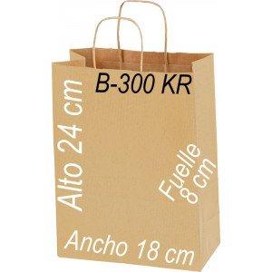 Bolsa Multiusos papel Kraft verjurado 90 grs.con asa retorcida Kraft Tamaño: Ancho (18 cm) + Fuelle (8 cm) x Alto (24 cm)