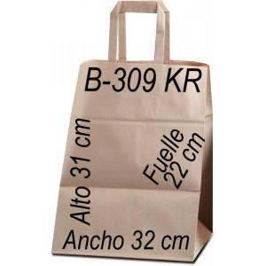 Bolsa Multiusos de papel Kraft liso de 90 grs. Asa Plana Tamaño: Ancho (32 cm) + Fuelle (22 cm) x Alto (31 cm)