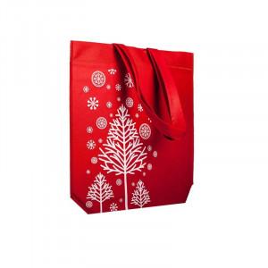 Bolsa motivo navideño fondo rojo 42x40x10