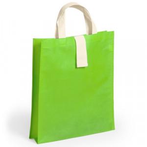 bolsa plegable con fuelle verde 36x40x8