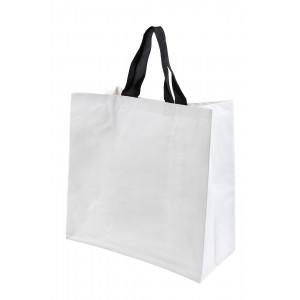 bolsa de rafia blanca mate 40x40x20 asa poliester negra
