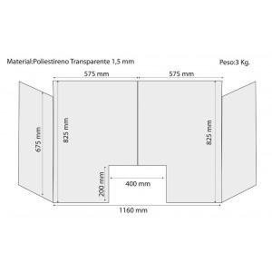 Mampara Anticontagio covi 19 con laterales extraligera