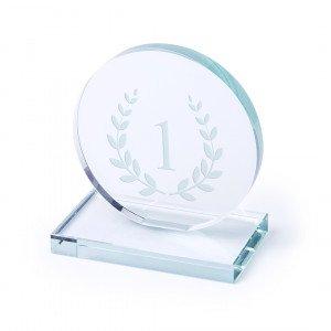 Placa trofeo circular cristal grueso