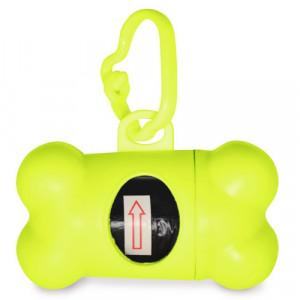 portabolsas para recoger caca de perro amarillo fluor