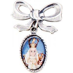 Medalla lazo con fotografia 1 cara acabado plata vieja.