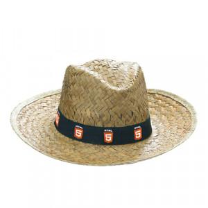 sombrero de paja con cinta publicitaria personalizable