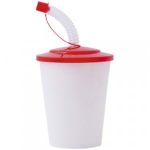 vaso con pajita tapa roja