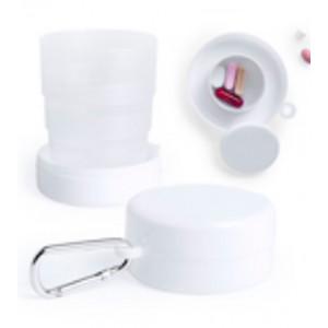 vaso plegable blanco con pastillero y mosqueton